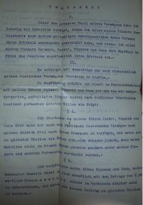 Početak testamenta Rozine Frank (pisan 1905. g.)