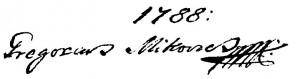 Potpis Grigorija Mikovića iz 1788. g.